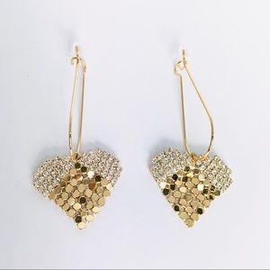 New! Rhinestones Heart Dangle Earrings Gold